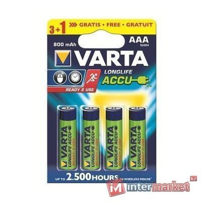 Аккумуляторы Varta AAA (HR03), Longlife Accu NiMH (R2U), 800mAh/1.2V