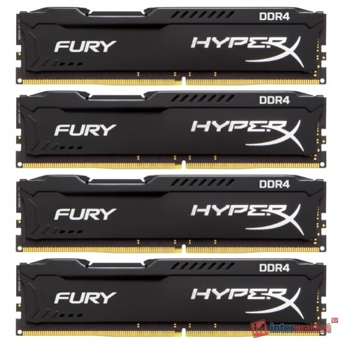 Комплект модулей памяти Kingston HyperX Fury,HX424С15FBK4/16, DDR4, 16 GB Черный