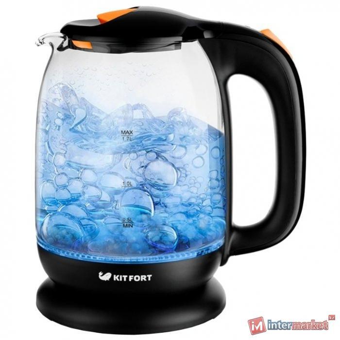 чайник Kitfort KT-625-3, черно-оранжевый