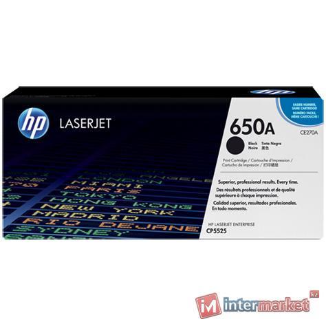 Картридж с тонером HP 650A LaserJet, черный (CE270A)