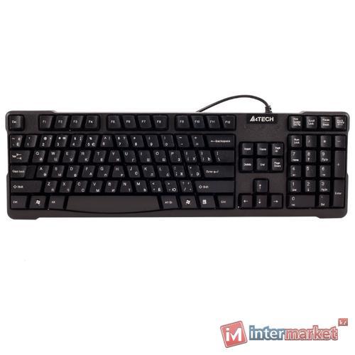 KeyBoard USB, A4 Tech KB-750, compact, Laser inscribed keys, black
