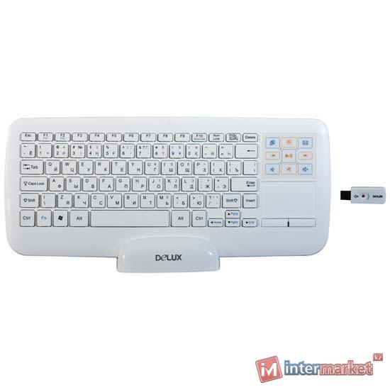 KeyBoard USB, Delux DLK-2880G+G15UF, Wireless, ultra slim, multimedia 9 hotkeys, white