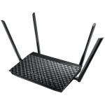 Модем-маршрутизатор с беспроводной точкой доступа, ASUS DSL-AC55U, ADSL2+/VDSL2, 2.4/5 ГГц, 1200 Мбит/с, 20,5 dBm, 4 внешние антенны, 1x USB 2.0