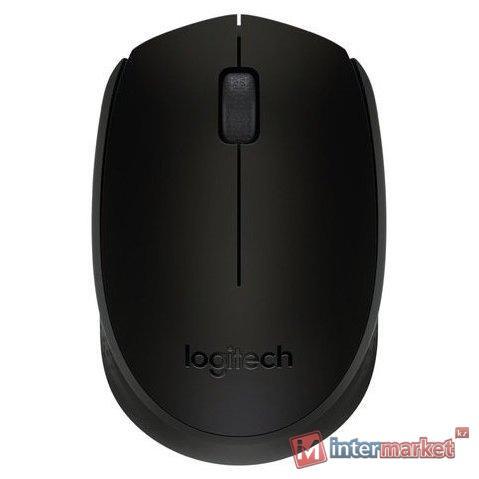 Мышь беспроводная Logitech B170 Black (черная, оптическая, 1000dpi, 2.4 GHz/USB-ресивер)