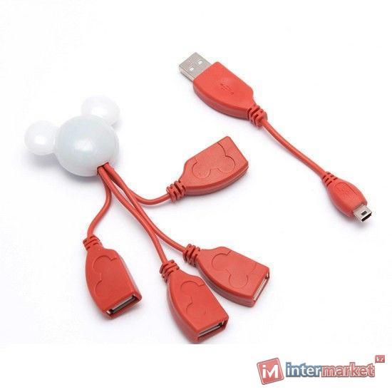 Расширитель USB, Deluxe, DUH4003RD,  Виде Микки Мауса, Красно-Белый