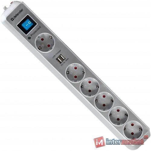 Сетевой фильтр Defender DFS-501 2м, 2xUSB, Gray
