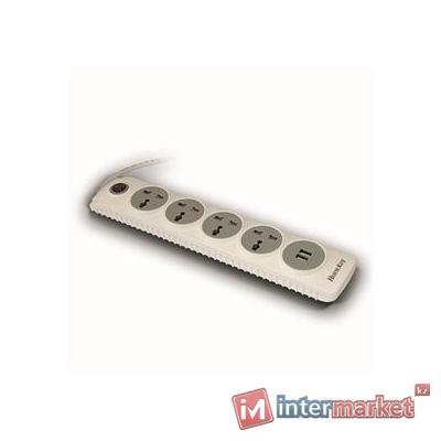 Сетевой фильтр Huntkey SZN507, автопредохранитель, white