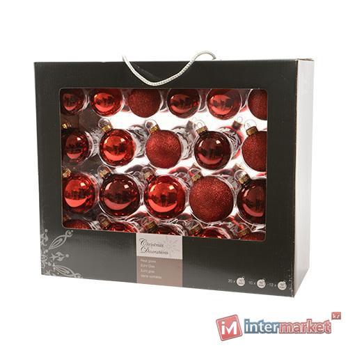 Шар стекло красный/бордовый глянцевый/матовый d5/6/7см 42шт/уп