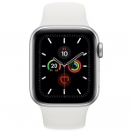 Часы Apple Watch Series 5 GPS 44mm Silver with White Sport Band