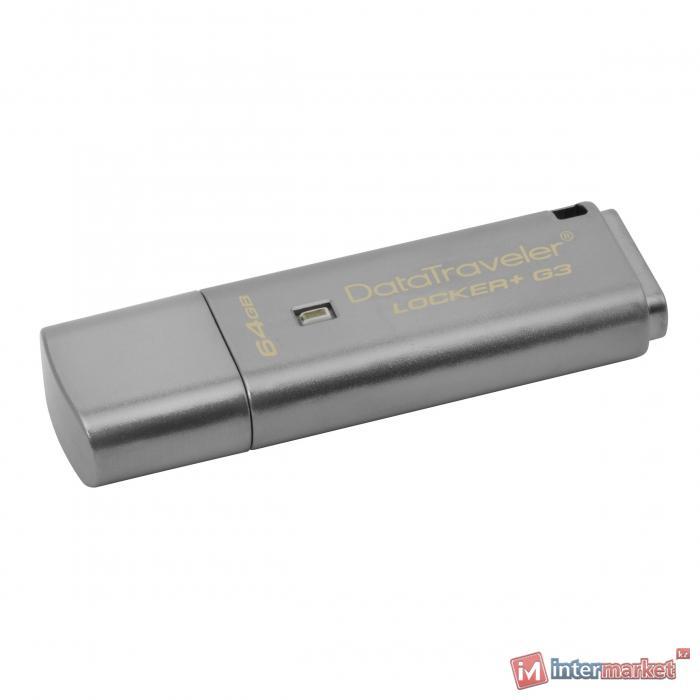 Флешка USB Kingston, DT Locker+G3, 64GB, gray