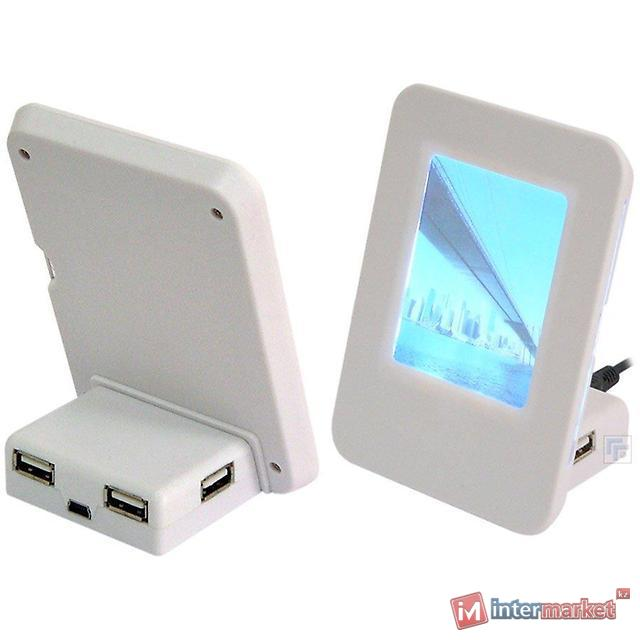 Концентратор USB Konoos UK-09, white, фоторамка с подсветкой