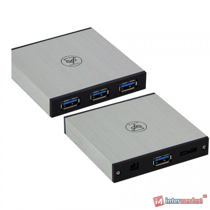 Концентратор USB Konoos UK-21, black-silver, aluminium