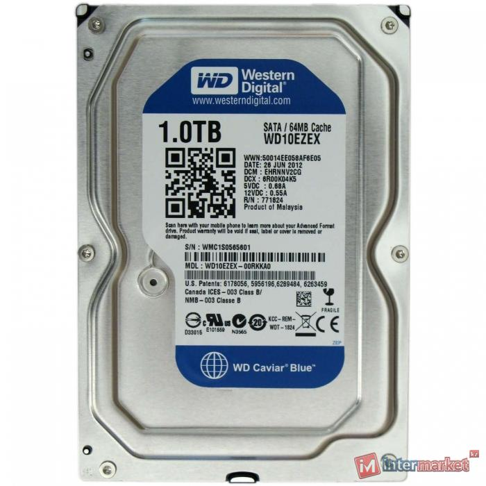 Жесткий диск HDD 1000 Gb Western Digital (WD10EZEX), 64Mb, SATA III